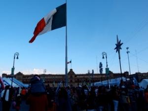 The great Mexican flag - at Zocalo Square, Centro Historico