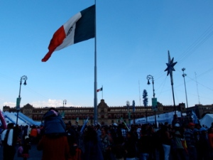 The great Mexican flag - at Zocalo Square, Centro Historico