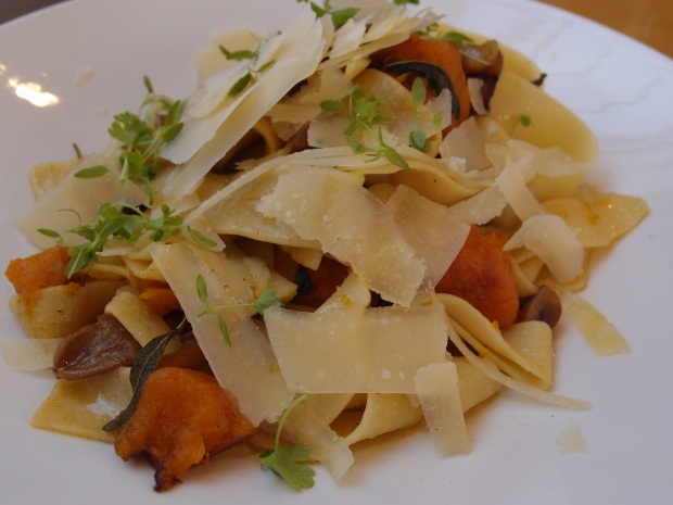 pumpkin and sage pappardelle served with chestnuts, wild mushrooms, grana padano