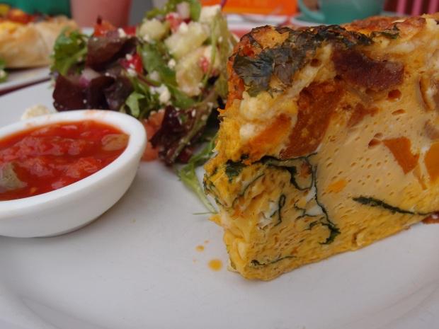 Feta and Pumpkin frigate served with Emelias tomato relish  and chopped greek salad