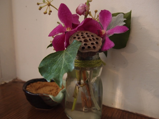 Native flower arrangements throughout the cafe