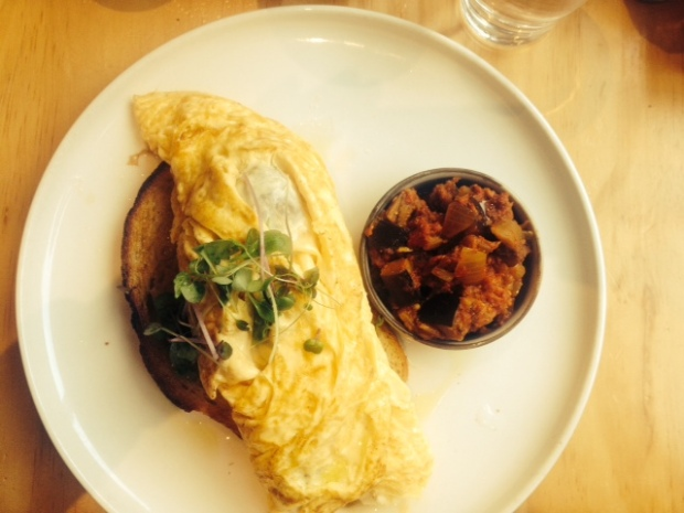 Onion and mozzarella omelette with a side of eggplant kasundi