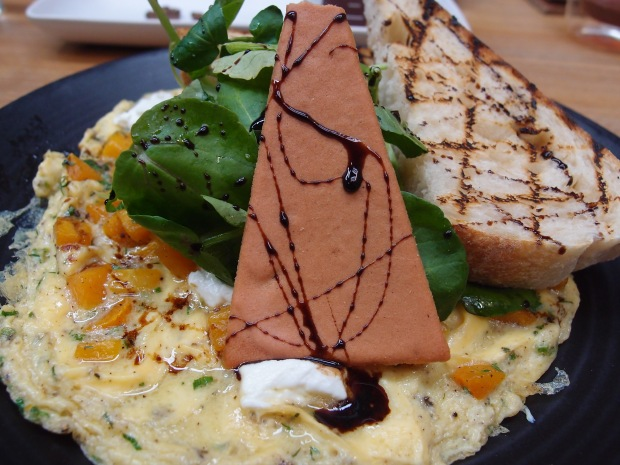 Pumpkin and chervil open omelette with a balsamic reduction