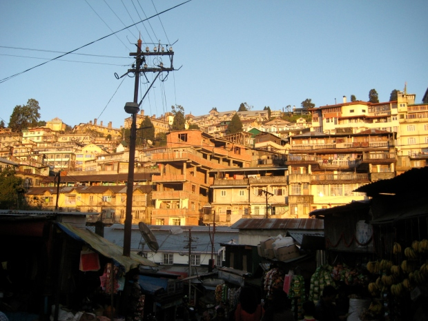 The vast Darjeeling hillside crammed with houses