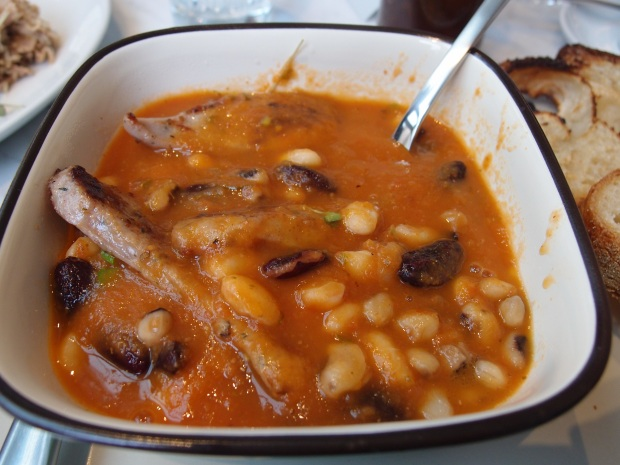 Beans with tomato sauce, pork and fennel sausage.