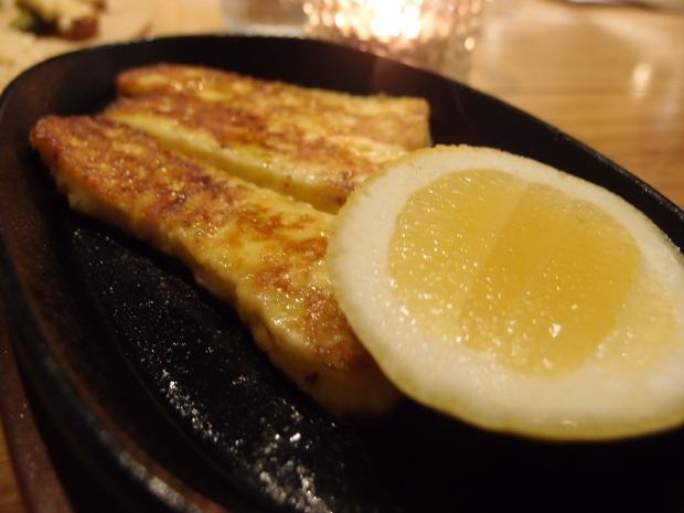 Pan fried Saganaki made with Haloumi