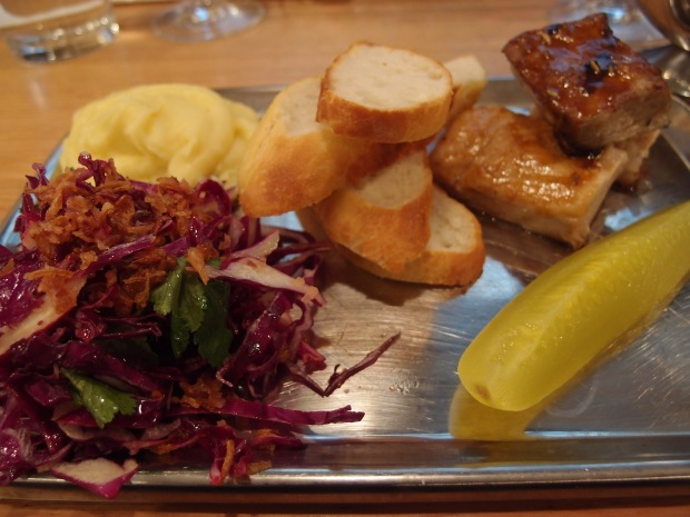 Pork belly meat tray with decedent sides