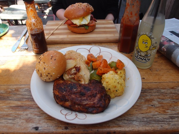 The brioche burger and jerk chicken lunch