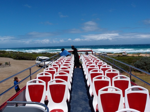 The spectacular coastal views of the Rye Ocean Beach from the top deck of the Peninsula Explorer