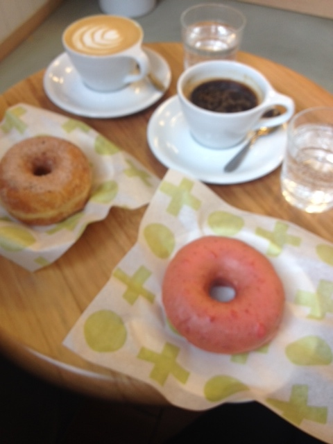 Short Stop's finest, Strawberry and lime doughnut with cinnamon, cardamom and sugar with batch brew coffee.