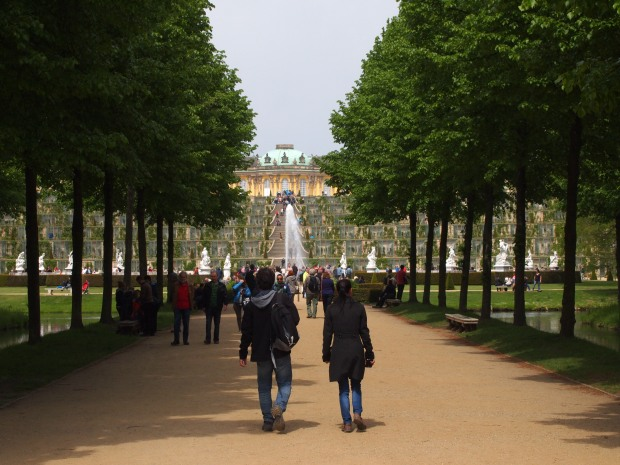 The large Terrace in front of the Sanssouci Palace, a UNSECO listed site in Potsdam
