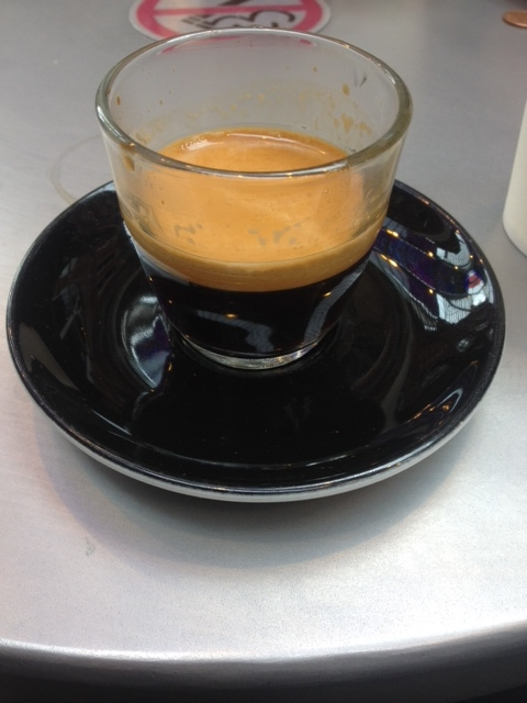 A double espresso from Opposite Coffee