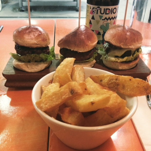 Drygate brewery beef, venison and lamb burgers with fat chips.