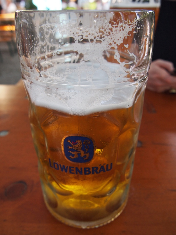 The remains of a Weißbier stein at Loewenbraeu.