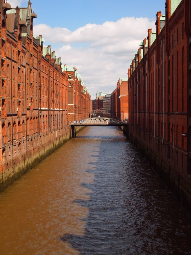 The Warehouse district and waterways of Hamburg next to the new Harbour project mixing old with new.