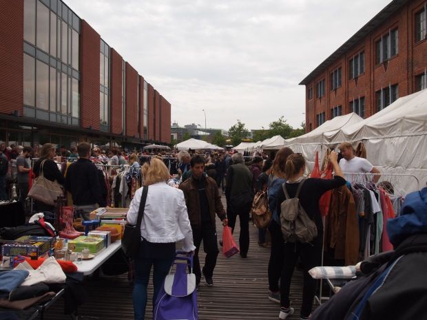 The Rindermarkhalle in St Pauli and surrounding Flomarkt on Saturday