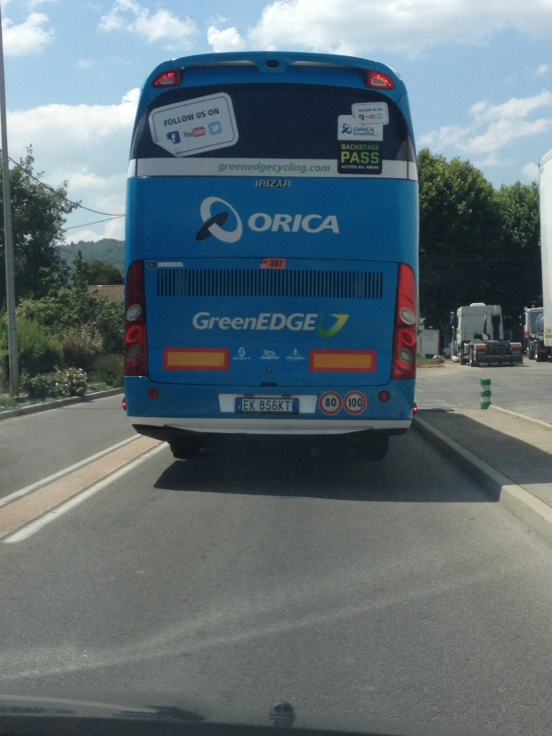 We tailed the Orica GreenEDGE bus most of the way between the start and finish of the stage along with the SKY, Tinkoff and Cannondale busses.