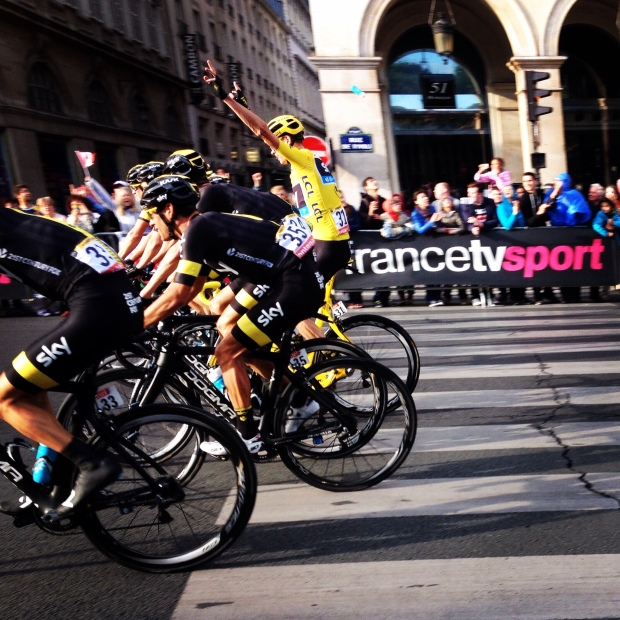 Team Sky make their way toward the finish line of the 2015 Tour de France.