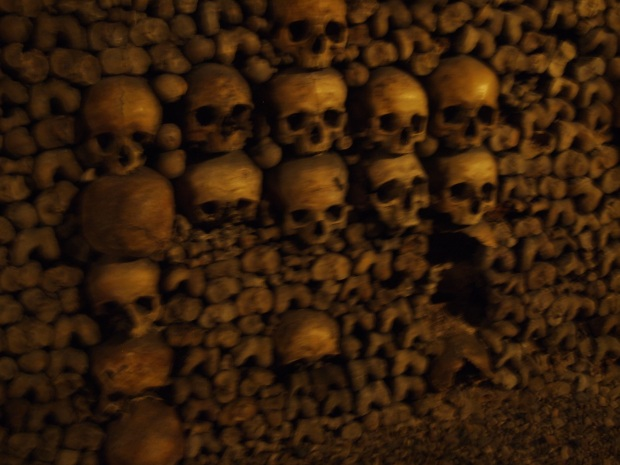 Just one of the sections of the Catacombes.