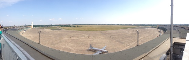 A panorama view of the airport from the roof of the terminal.
