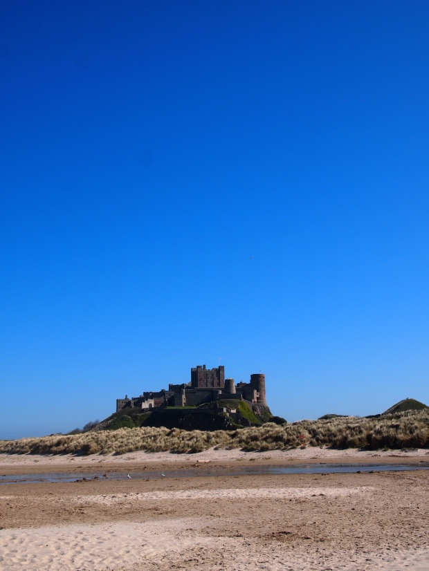 Bamburgh Castle from along the beach