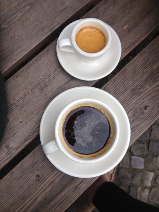 A long black and an espresso at Bonanza Coffee.