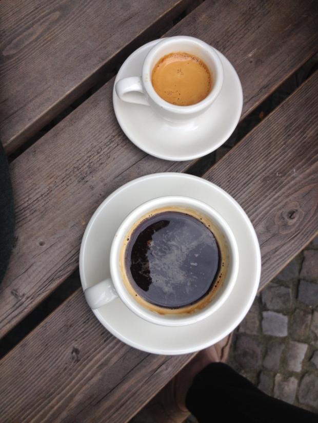 A long black and an espresso at Bonanza Coffee.