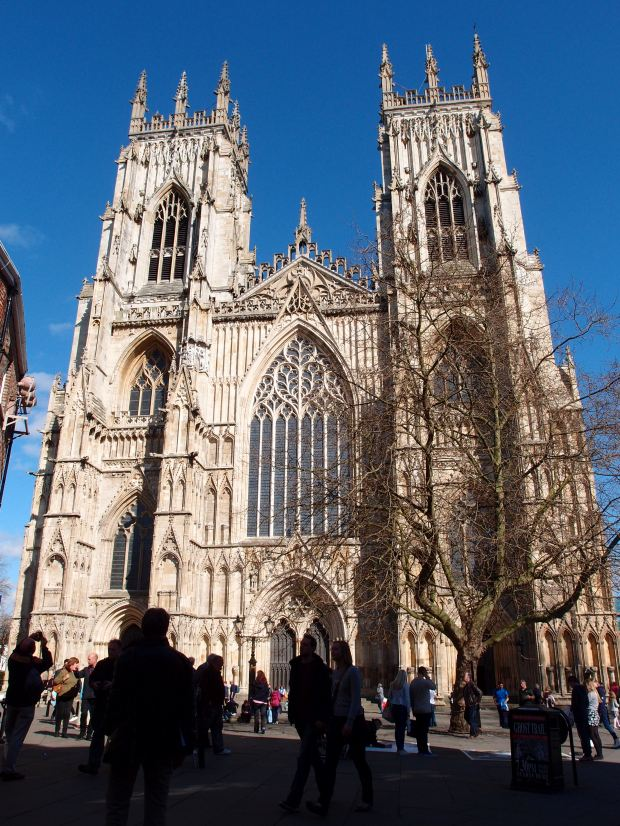 The towering facade of York Minster in the town centre.
