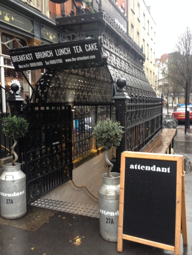 The novelty factor: a city urinal converted into a cafe.