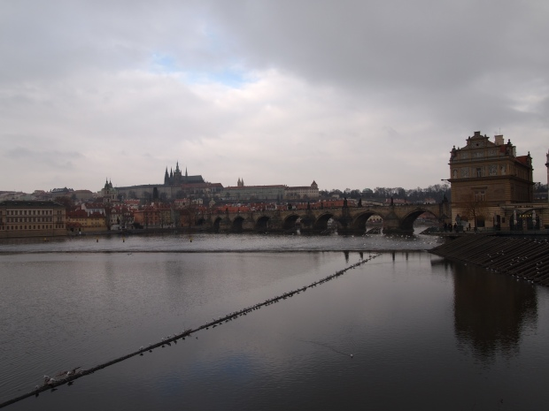 A view over the river at Charles Bridge.