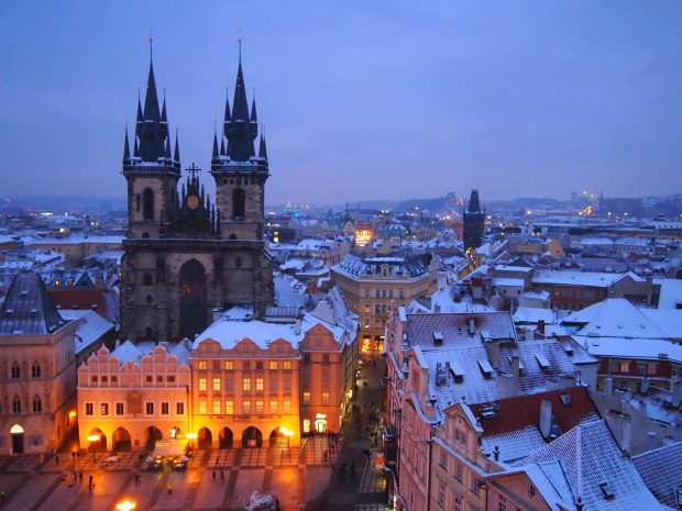 Overlooking Prague from the Town Hall bell tower in the Old Square.