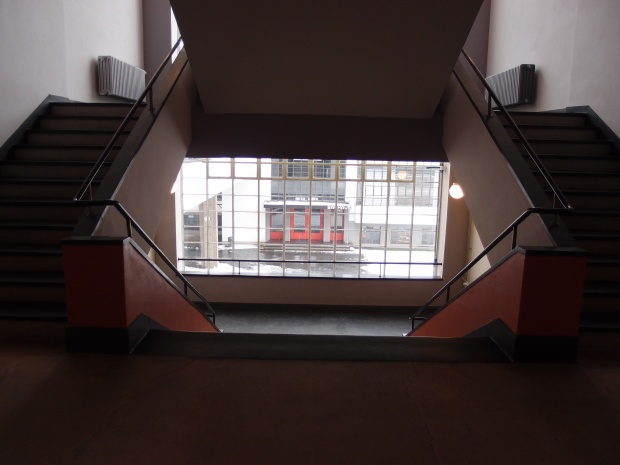 The stairwell overlooking the studios on the west wing of the Bauhaus.