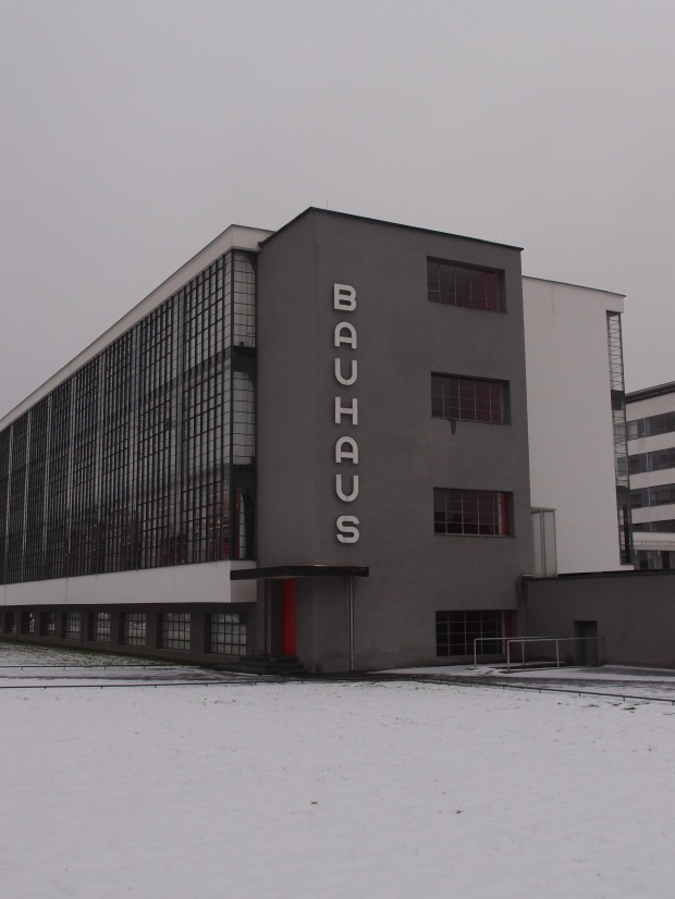 The famous Bauhaus wall at the Dessau Campus.