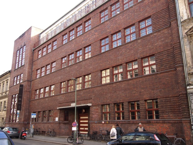 The towering facade of the Maedchenschule in Mitte
