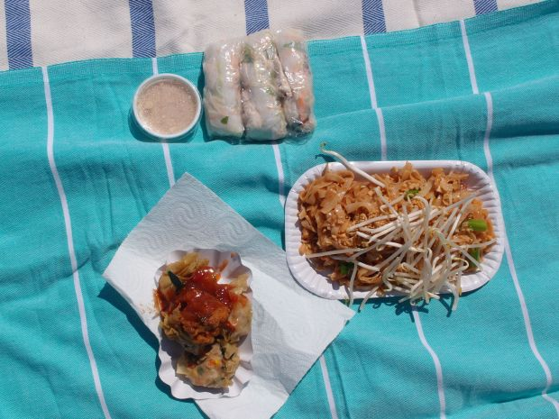 Rice paper rolls, Pad Thai & Chicken Curry.