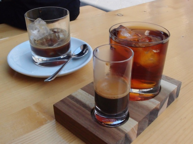 Iced espresso, cold drip and an espresso