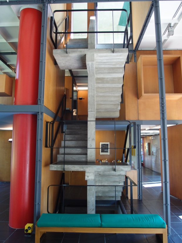 The central staircase connecting the three floors, roof and basement.