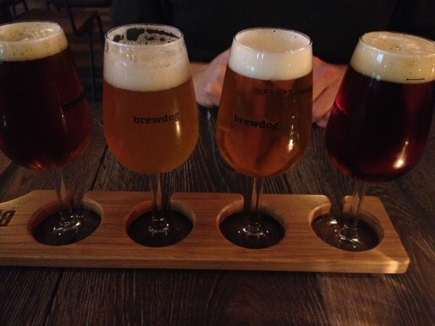 Brewdog sample tray at the newly opened Mitte location.