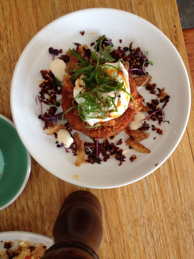 Brie & Cumin hash with poached egg